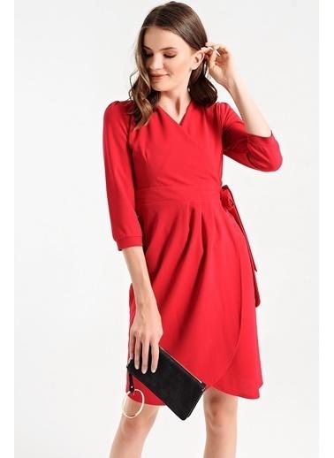 Jument Yandan Bağlaması Ayarlanabilir Scuba Kapri Kol Şık Ofis Elbise Kırmızı